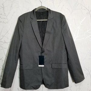 Zara Man NWT $199 Charcoal Oxford Weave Blazer